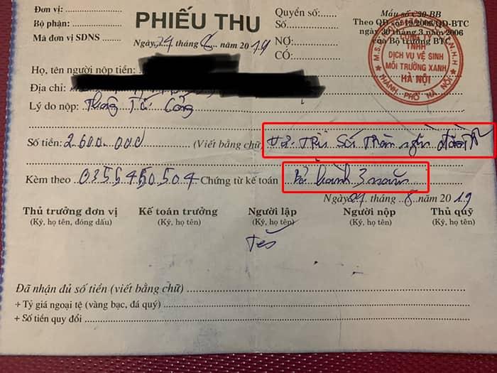 Hóa đơn thanh toán của congtymoitruongxanh247