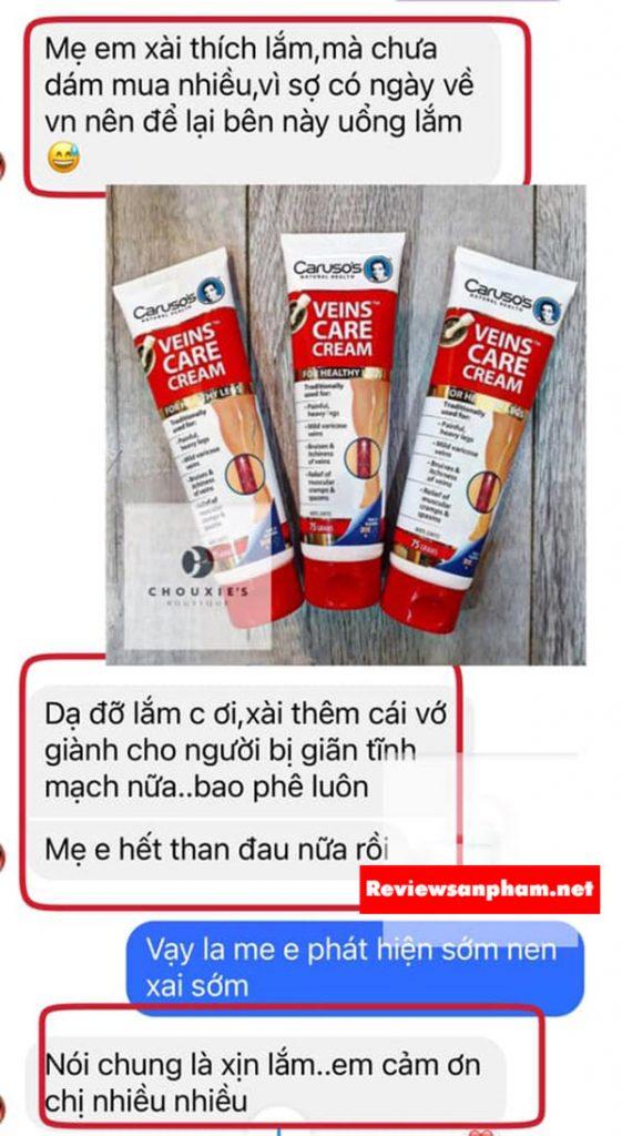 Caruso's natural health veins care cream review từ một số khách hàng trên fb